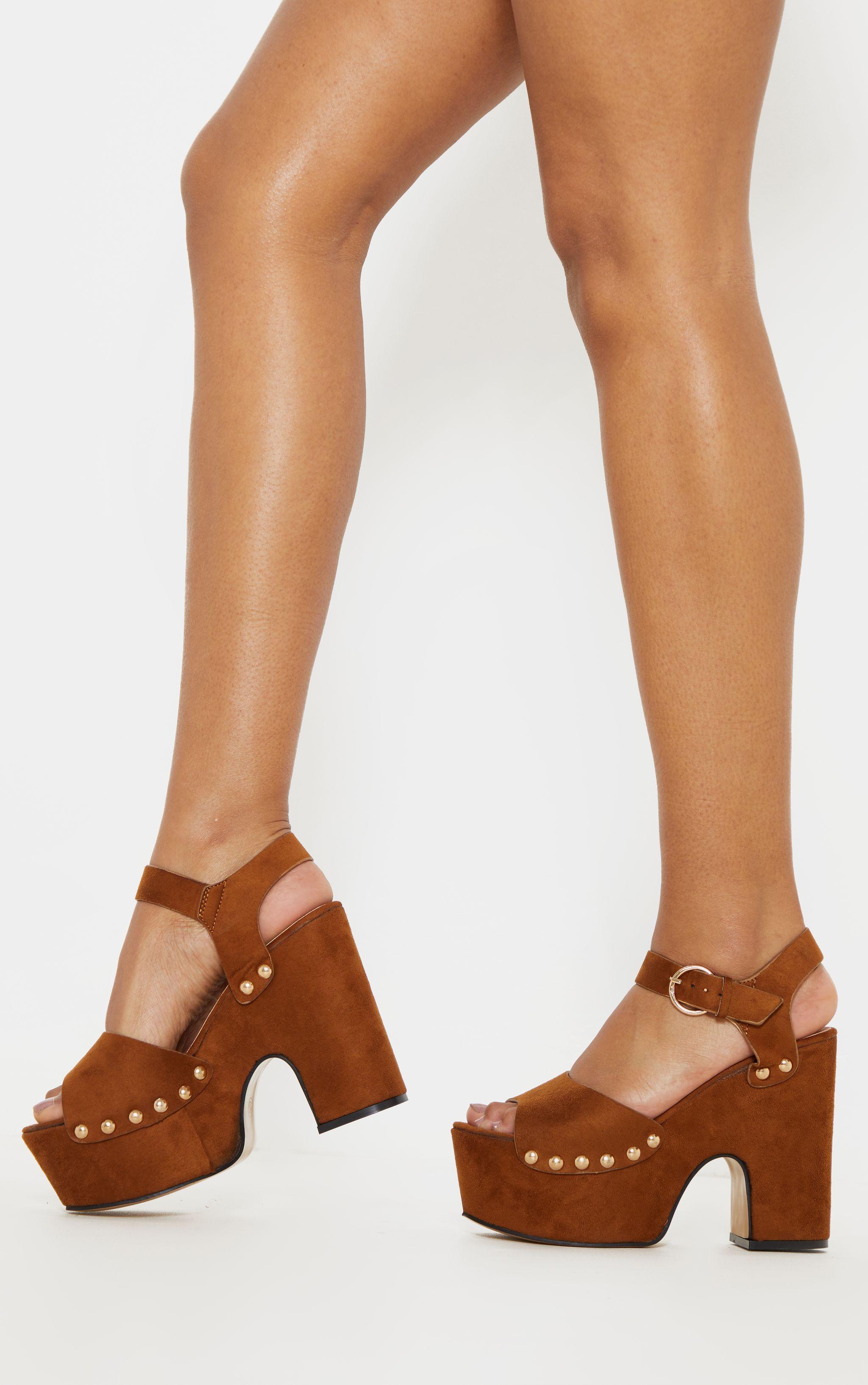 30a7b0f62d Tan Studded Platform Sandal in 2019 | Products | Sandals, Platform ...
