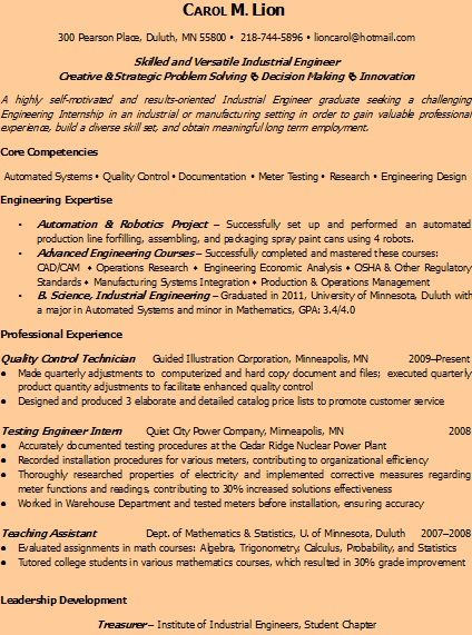 Power Plant Mechanic Sample Resume Industrial Engineer Resume Sample Httpwww.resumeformatsour .