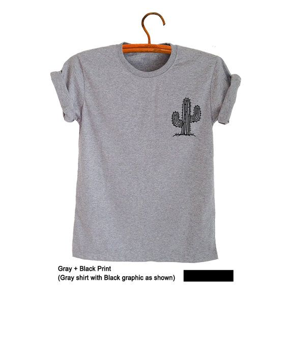 fd3424cd4bf Cactus Shirt Top Tumblr T Shirt Grunge Pocket Tee Shirt Cactus Plant  Printed Graphic Tee Cute Nice Cool Outfits for Teens Clothes for Womens  Mens Unisex ...