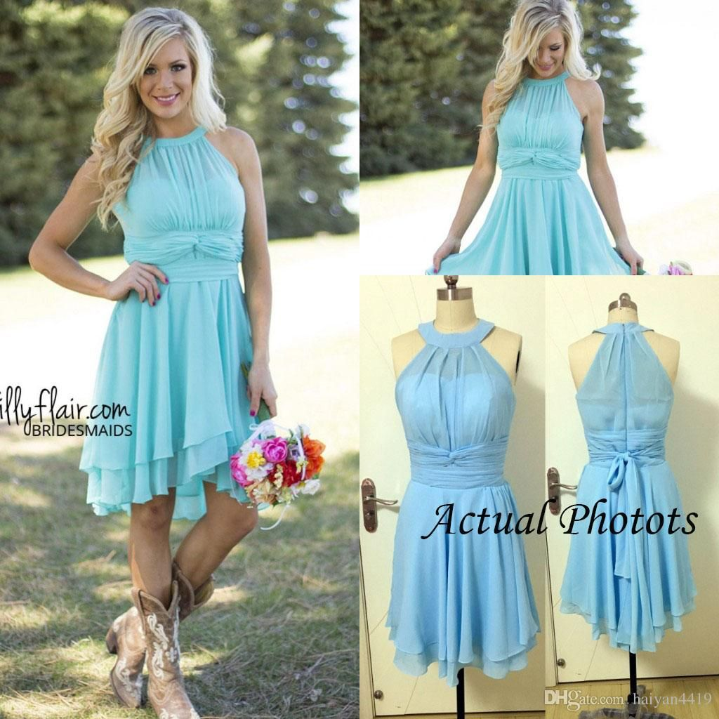 2016 new light blue country bridesmaid dresses short cheap jewel 2016 new light blue country bridesmaid dresses short cheap jewel neck western wedding guest wear plus ombrellifo Gallery