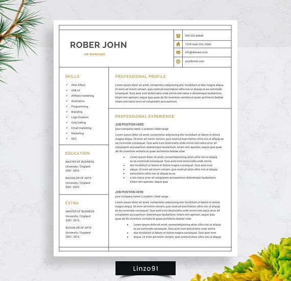 minimal resume cv template for word two pages resume robert