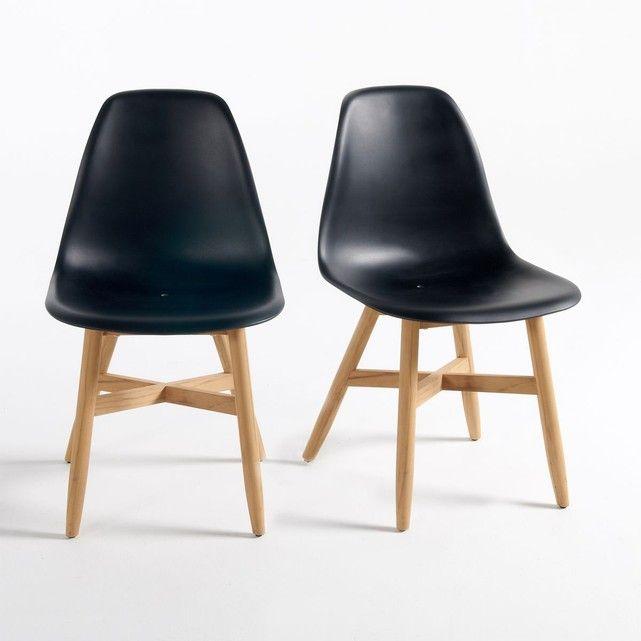 Chaise de jardin assise coque, Jimi, lot de 2 Du bois