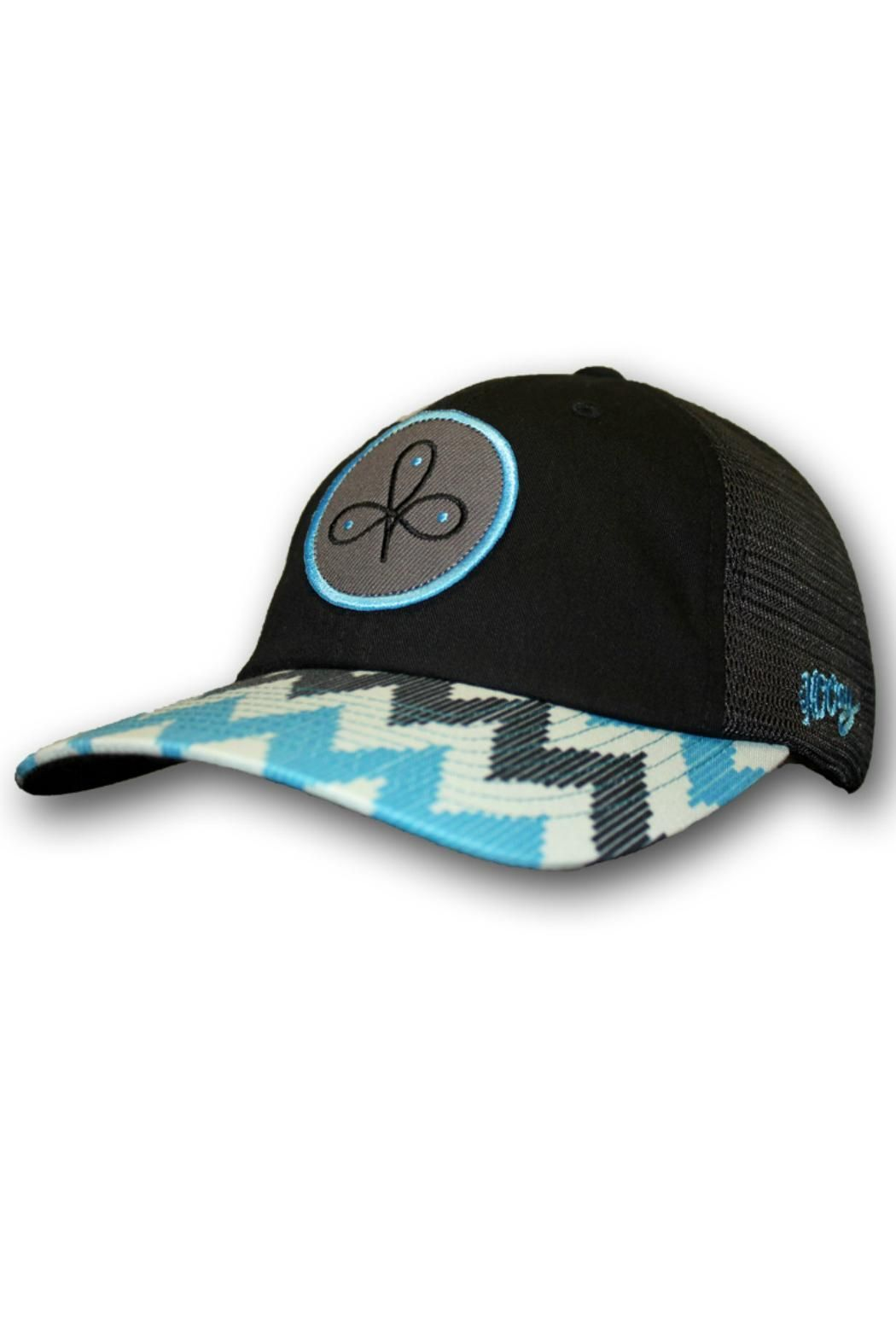 Clover leaf ladies trucker with blue pattern on the bill-OSFA . This cap  has a mesh back with snap closure. Ladies Trucker Hat by Hooey. e8d8f939d57