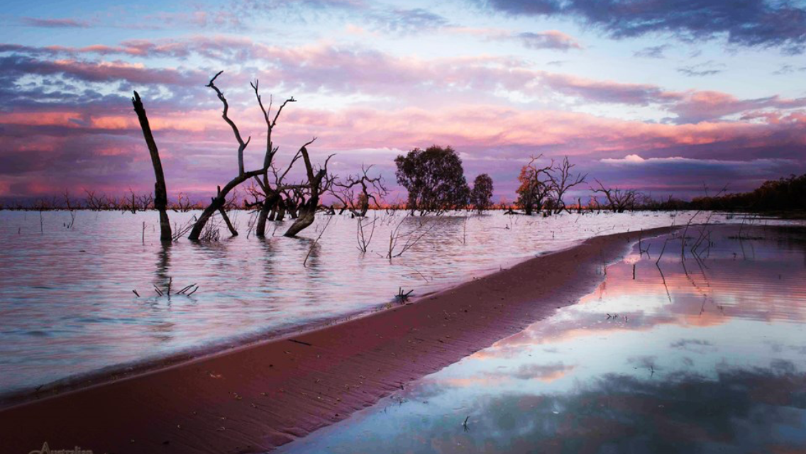 The Menindee Lakes is a chain of shallow ephemeral freshwater lakes connected to the Darling River.