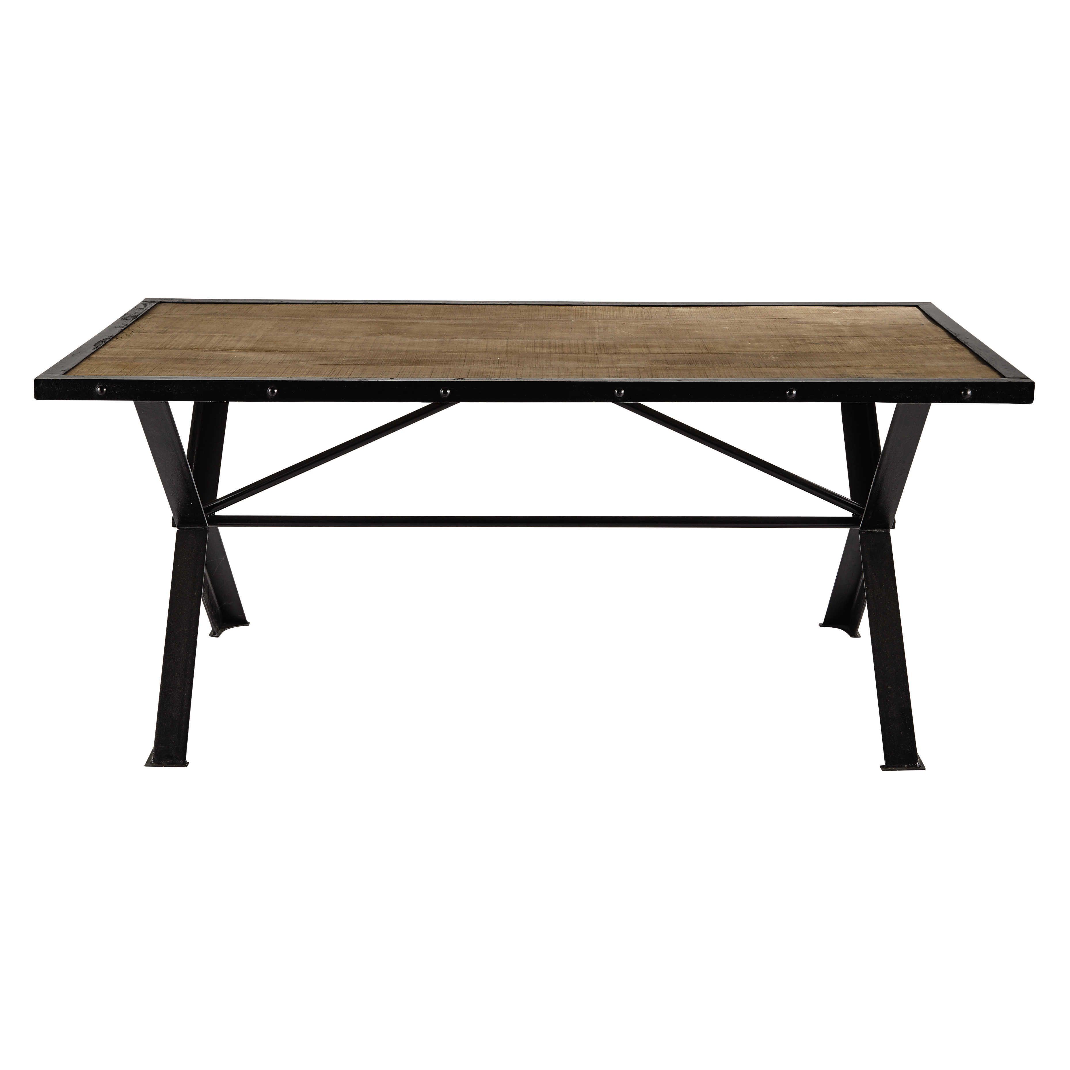 Table de salle à manger en manguier massif métal riveté L 180 cm ...