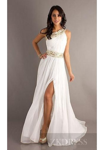 Cute Long Sleeveless Chiffon White Natural Prom Dresses Sale ...