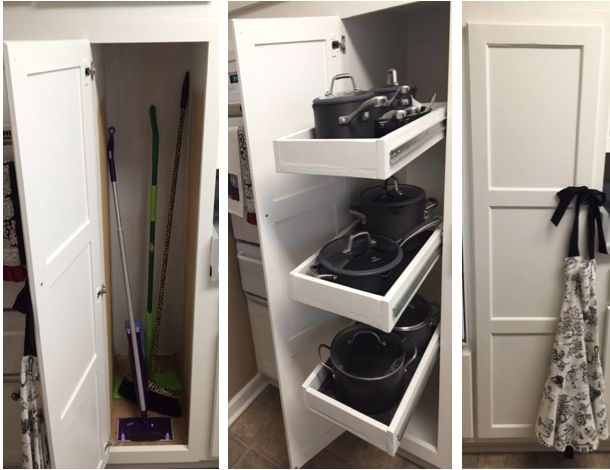 Superb Transform A Broom Closet Into Pot Storage With Rolling Pull Out Drawers.