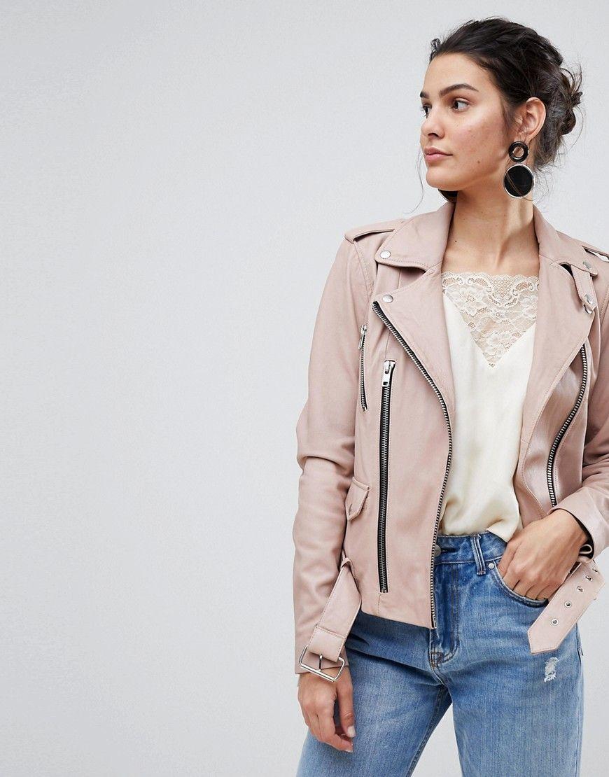 Y.A.S Leather Jacket Pink | Lederjacke damen, Lederjacke