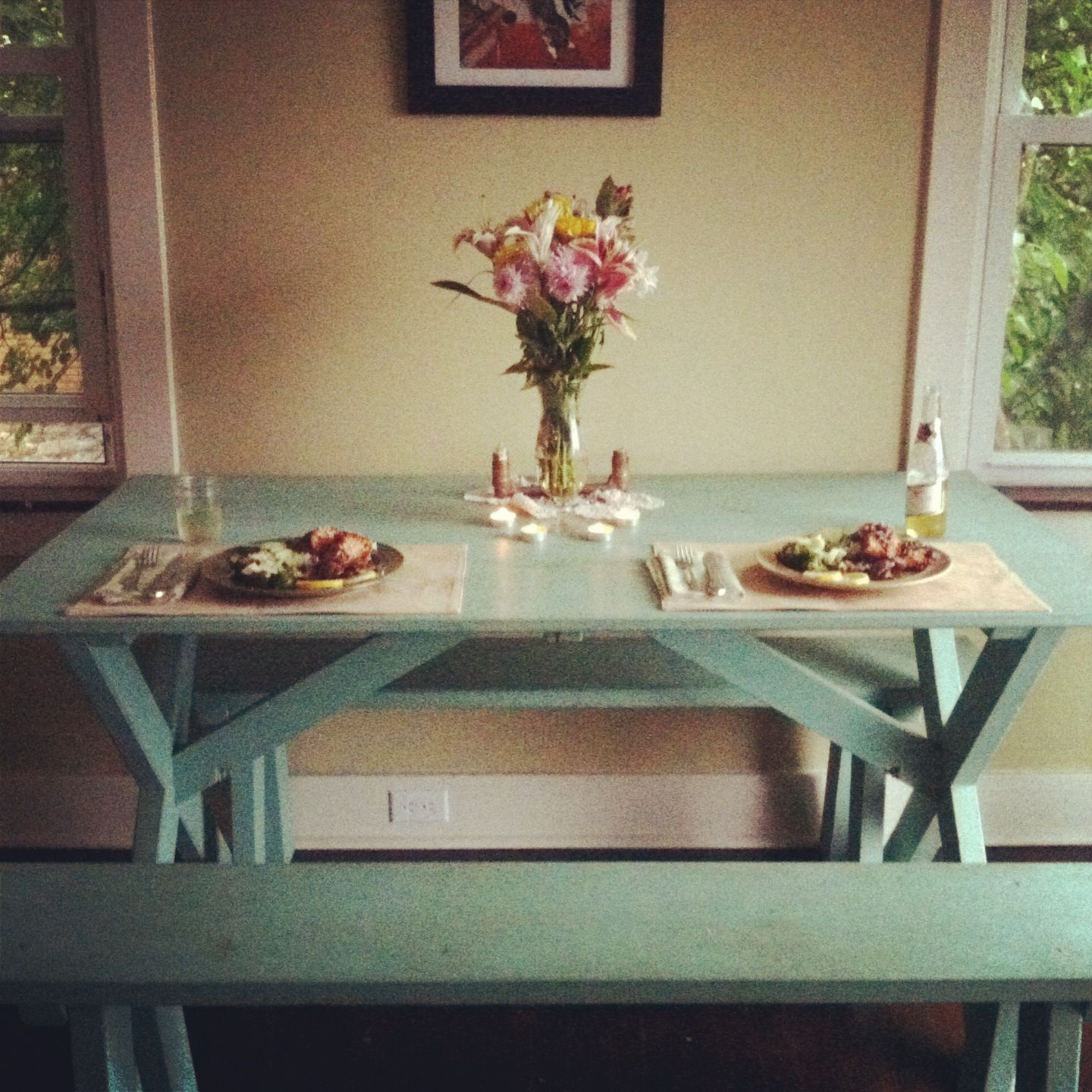 dining room picnic table | a glance into my home | pinterest