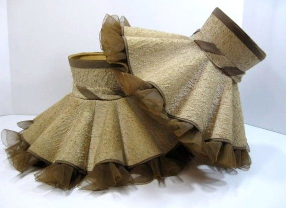 Vintage lamp shades oatmeal fabric with brown by thefronthouse vintage ruffled lamp shades oatmeal fabric brown trim pair of shades petticoat chimney top aloadofball Choice Image