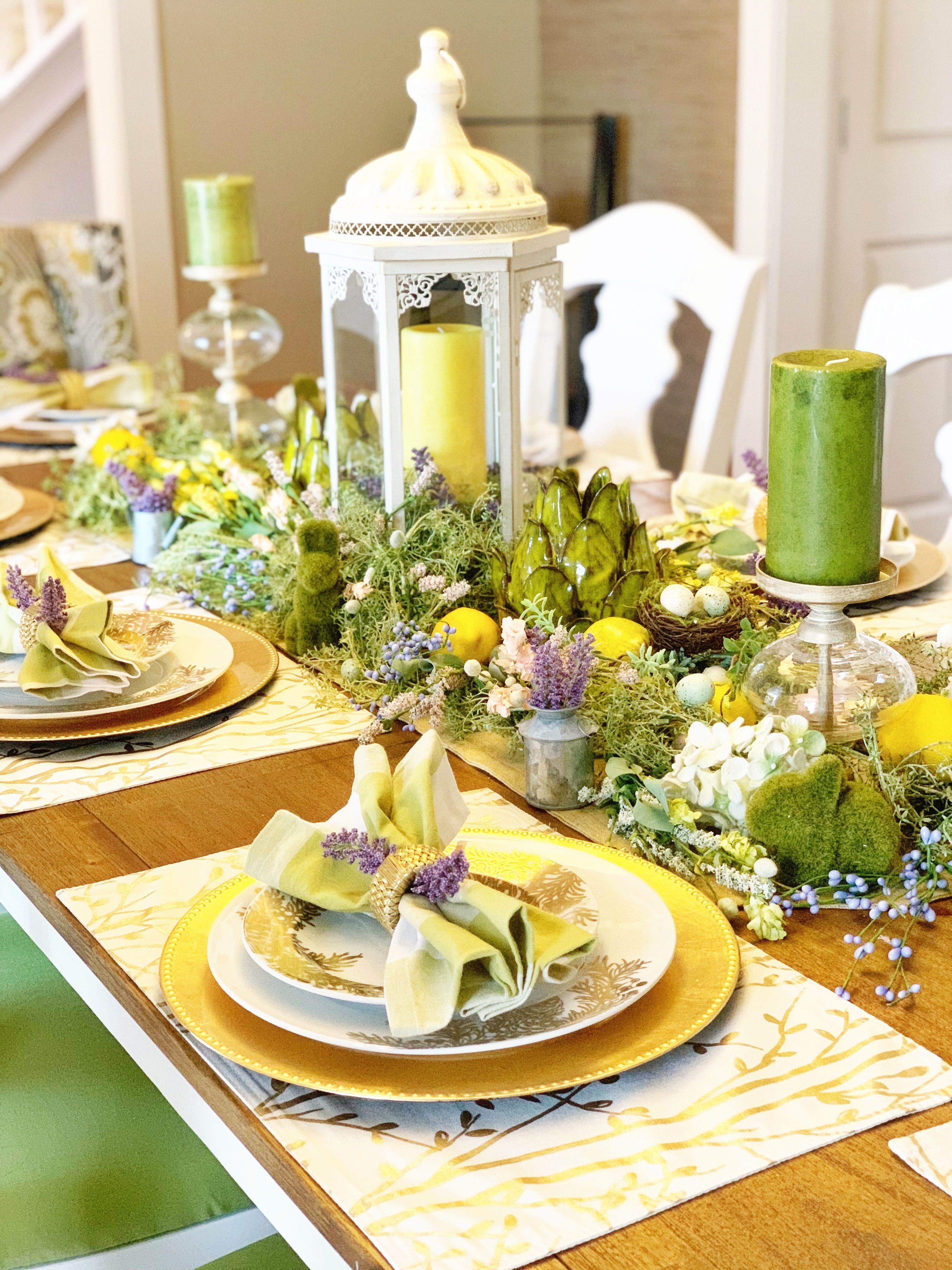 April Spring Decorations Dining Room Table Setting And Centerpiece For Easter Holiday Wi Easter Dining Room Table Decor Dining Room Table Set Dining Room Table
