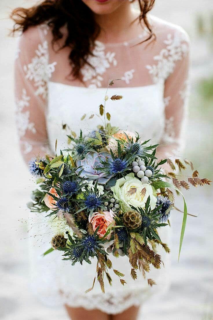 winter wedding bouquet showcasing blue eryngium thistle