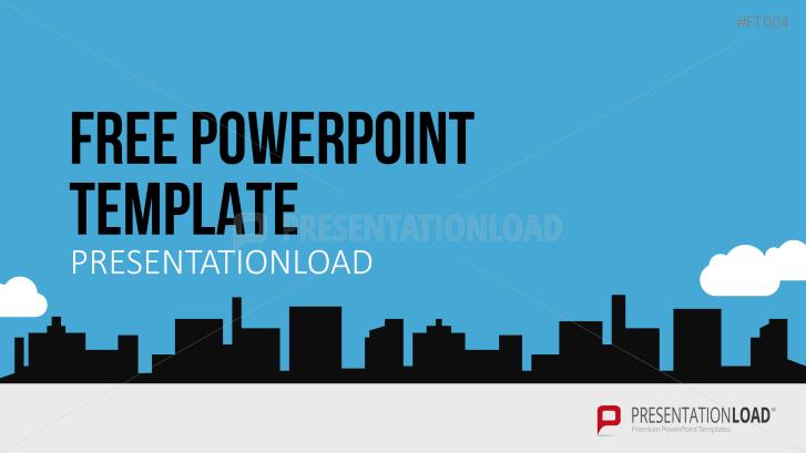 free powerpoint template city skyline | business | pinterest, Modern powerpoint