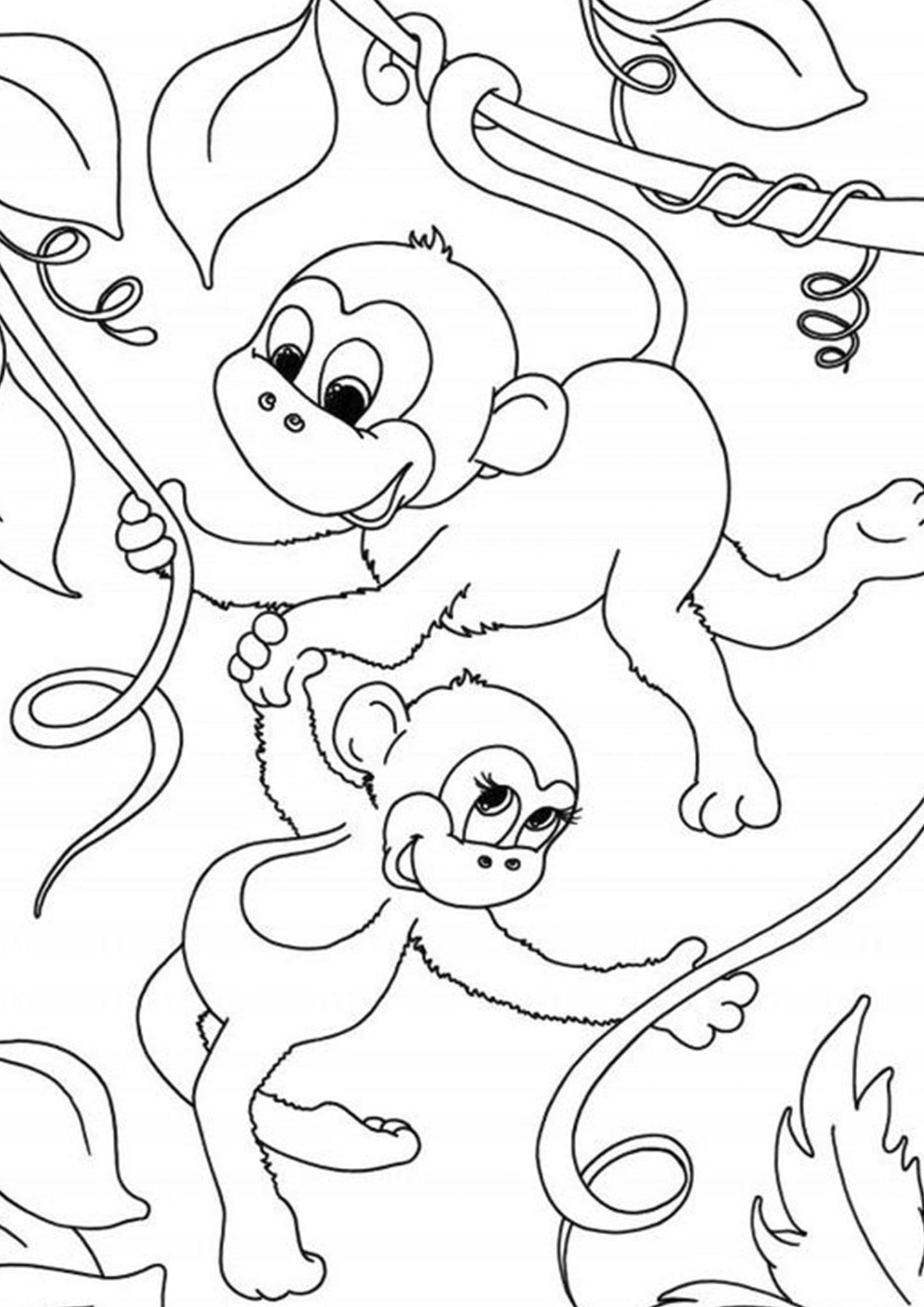 Monkey Coloring Pages Printable Beautiful Printable Monkey Clipart Coloring Pages Cartoon Craf Monkey Coloring Pages Animal Coloring Pages Cow Coloring Pages