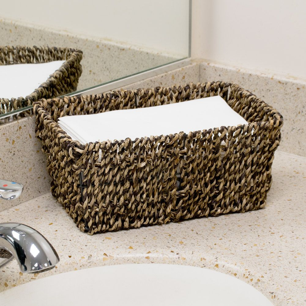 Disposable guest hand towels for bathroom - Hoffmaster Bsk2151 Seagrass Wicker Guest Towel Basket Holder