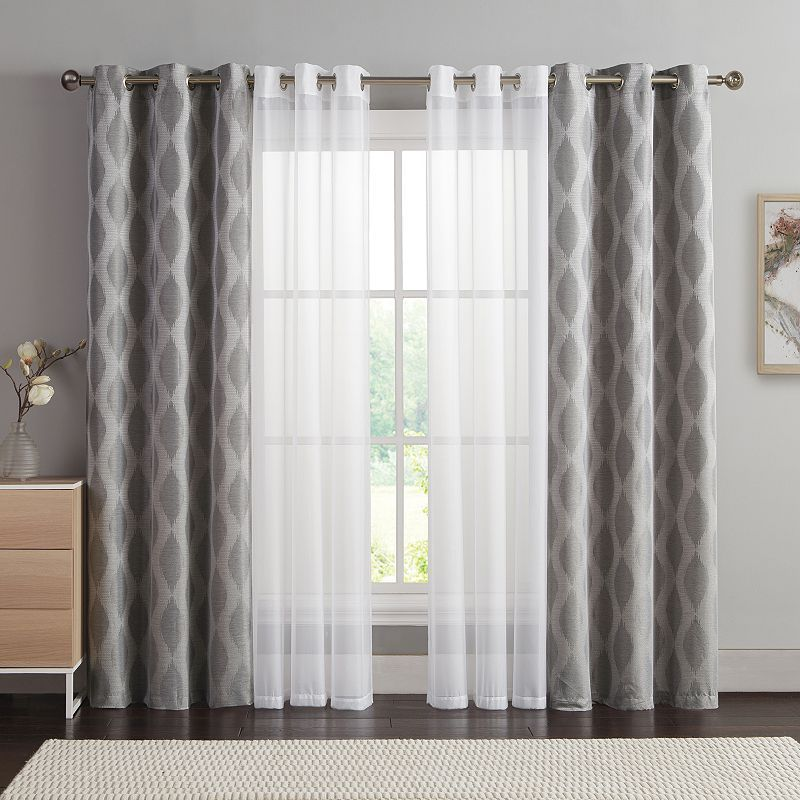 VCNY 4-pack Jasper Double-Layer Window Curtain Set ...