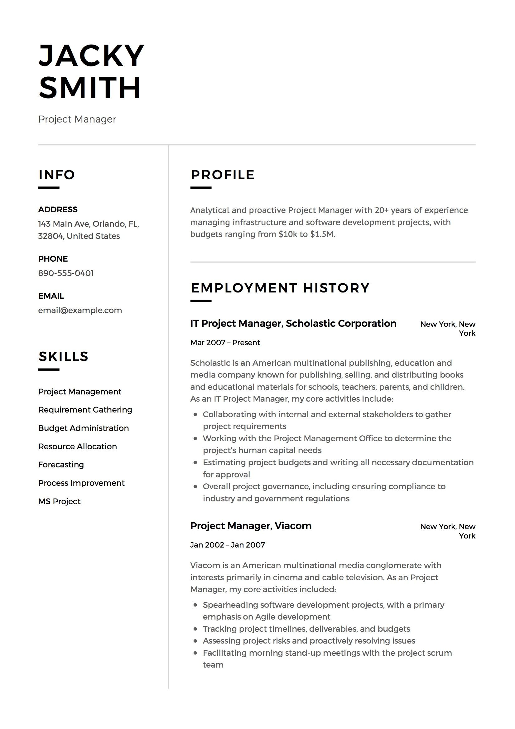 Project Manager Resume Example Project Manager Resume Home Health Aide Resume Examples