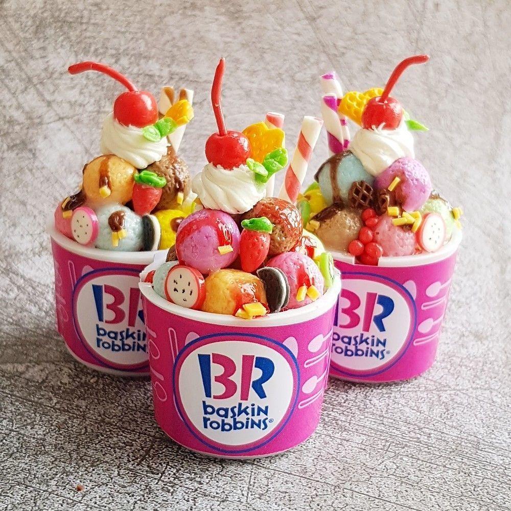 10 Ice Cream Cup Plastic Dollhouse Miniatures Supply Food//Artist