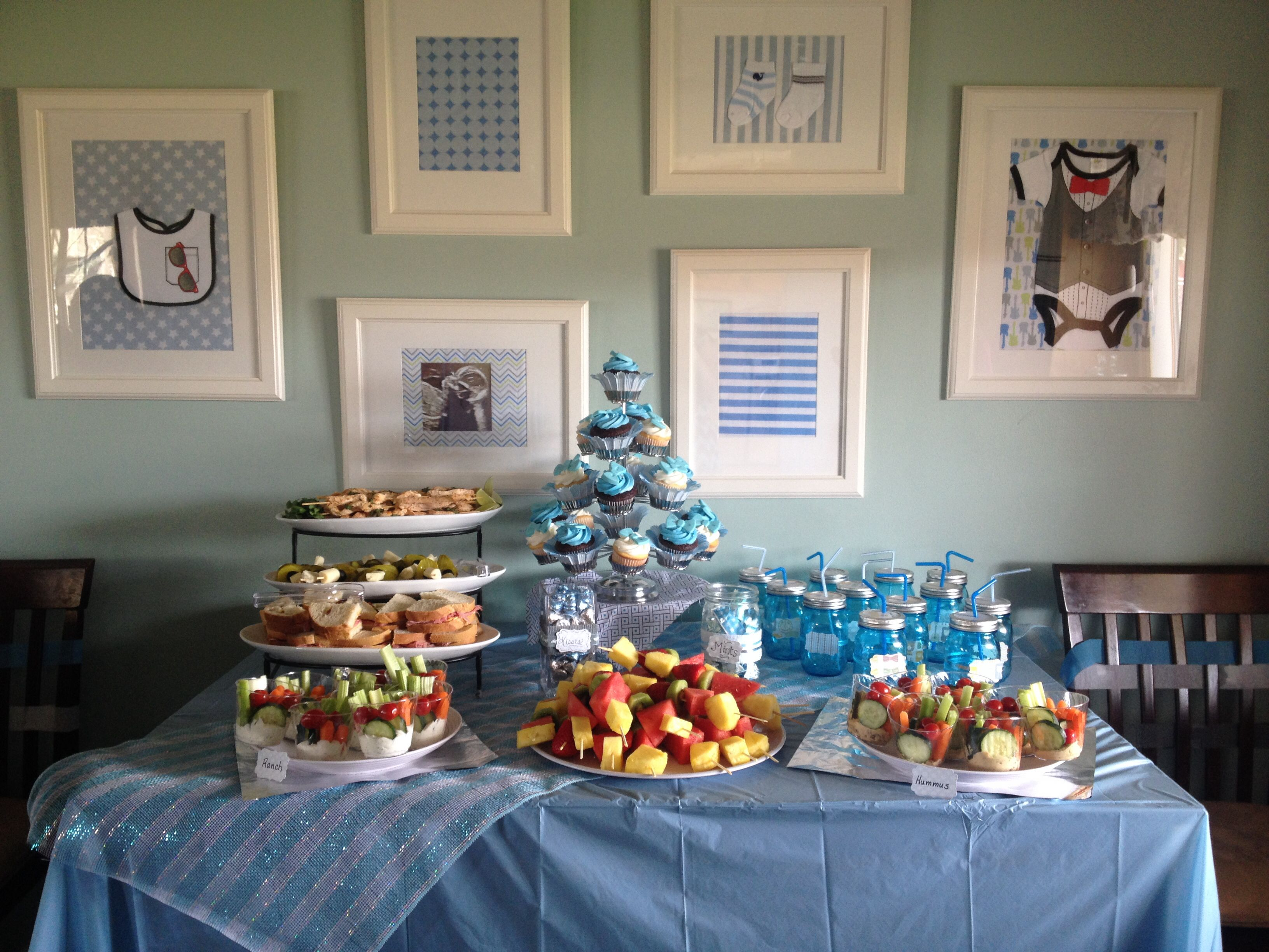 Baby boy shower food table Used blue mason jars for drinking
