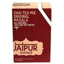 Chai Tea Mix - Travel to India anytime with this blend of black tea, milk, and spices - add water and sip away! Jaipur Avenue chai can be enjoyed both hot and cold.    Contains 15 packets