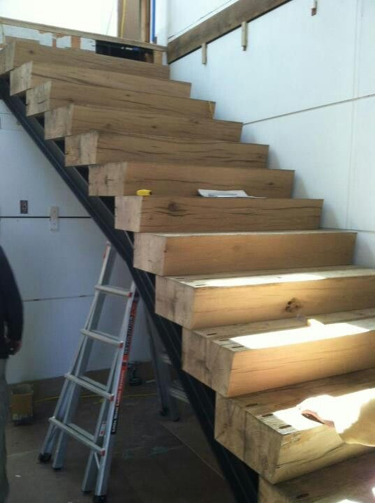 Stairs Made From Large Beams Rustic Stairs Stairs Design | Stairs Made Of Wood | Pine | Staircase | Wood Plank | Hanging | Custom Made
