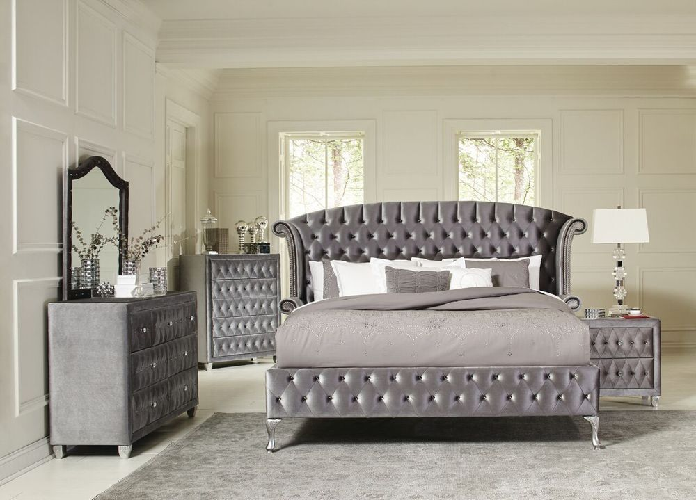 magical 4 pc grey velvet tufted king platform bed bedroom furniture set home garden