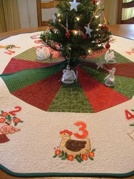 Advanced Embroidery Designs Free Projects And Ideas 12 Days Of Christmas Tre Christmas Tree Skirts Patterns Machine Embroidery Christmas Christmas Tree Skirt