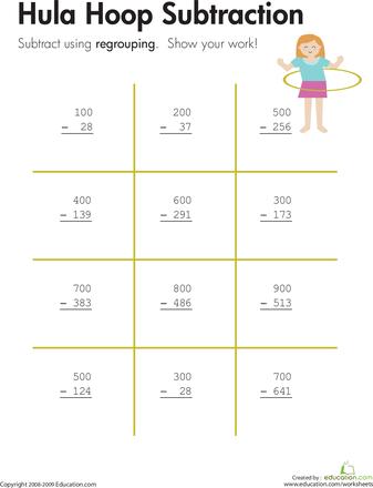 Hula Hoop: Three-Digit Subtraction with Regrouping | Hula hoop, Hula ...