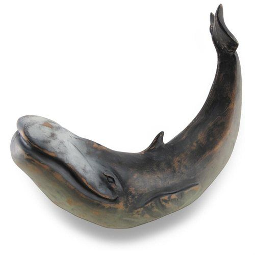 Black Distressed Finish Swimming Whale Statue 13 In.