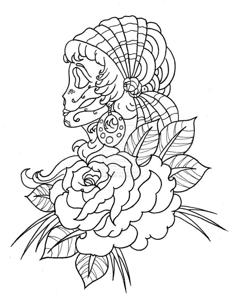 coloring page skull sugar mexican candy candyskull skull skulls ladies lady indian rose roses tattoo - Rose Coloring Pages Teenagers