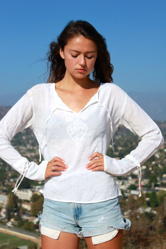 Pretty Hippie Vintage Gauzy Indian Blouse Hand by Vdingy on Etsy