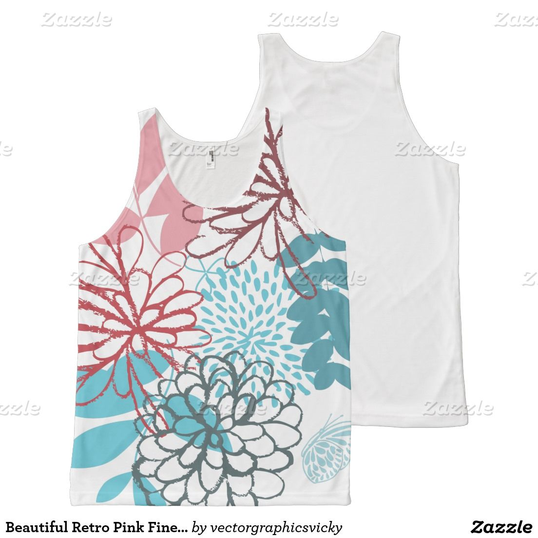 6cf001b467 Beautiful Retro Pink Fine Art Flowers All-Over Print Tank Top ...