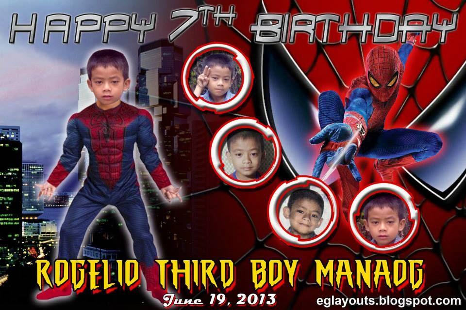 Happy 7th Birthday Tarpaulin Wallpaper Ideas Backdrops Spiderman Birthdays Third