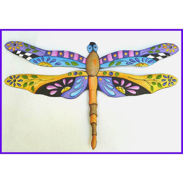Painted Metal Dragonfly Wall Hanging Tropical Decor 24 Via Polyvore Featuring Home