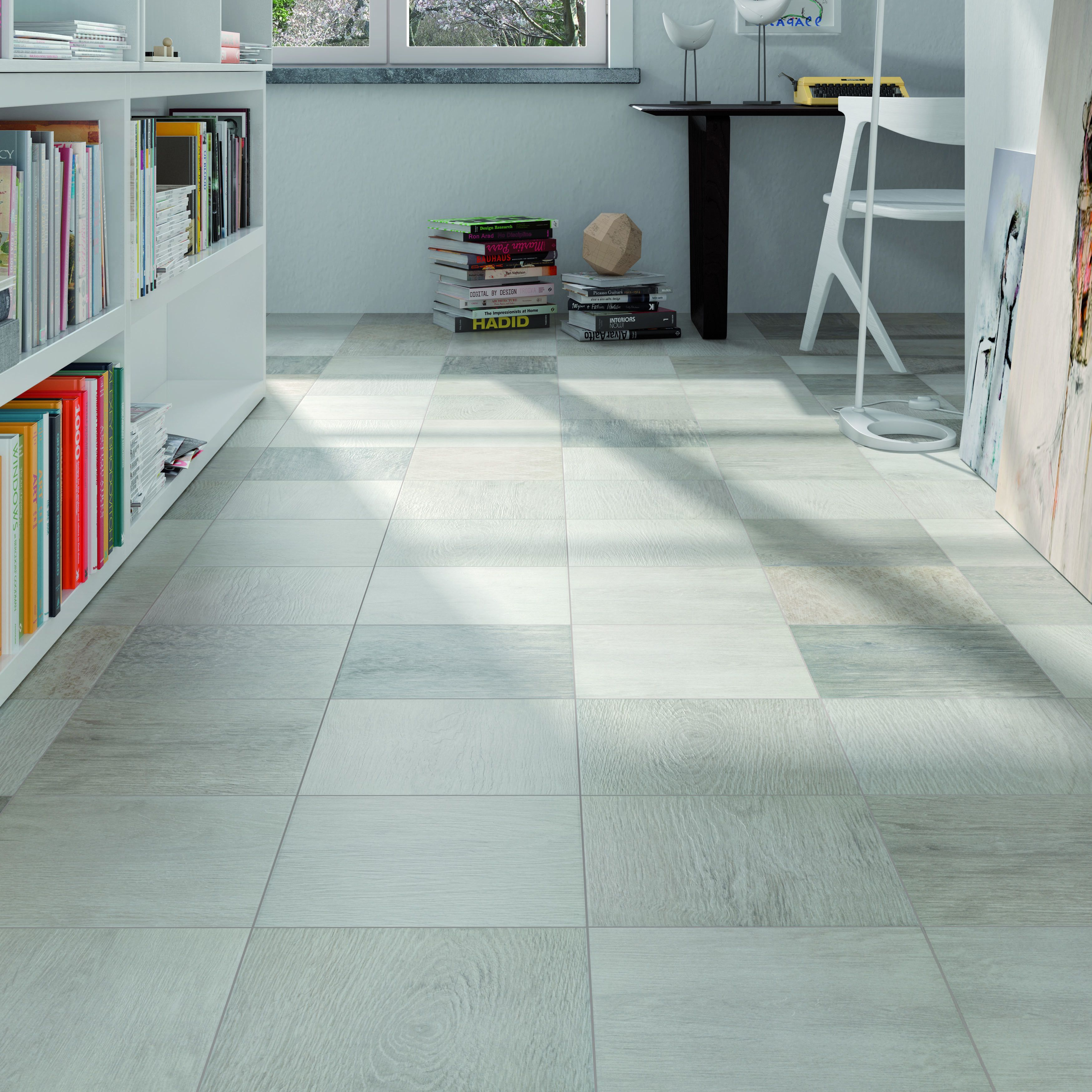 The SomerTile 9.5x9.5-inch Woodland Silver Porcelain Floor and Wall ...