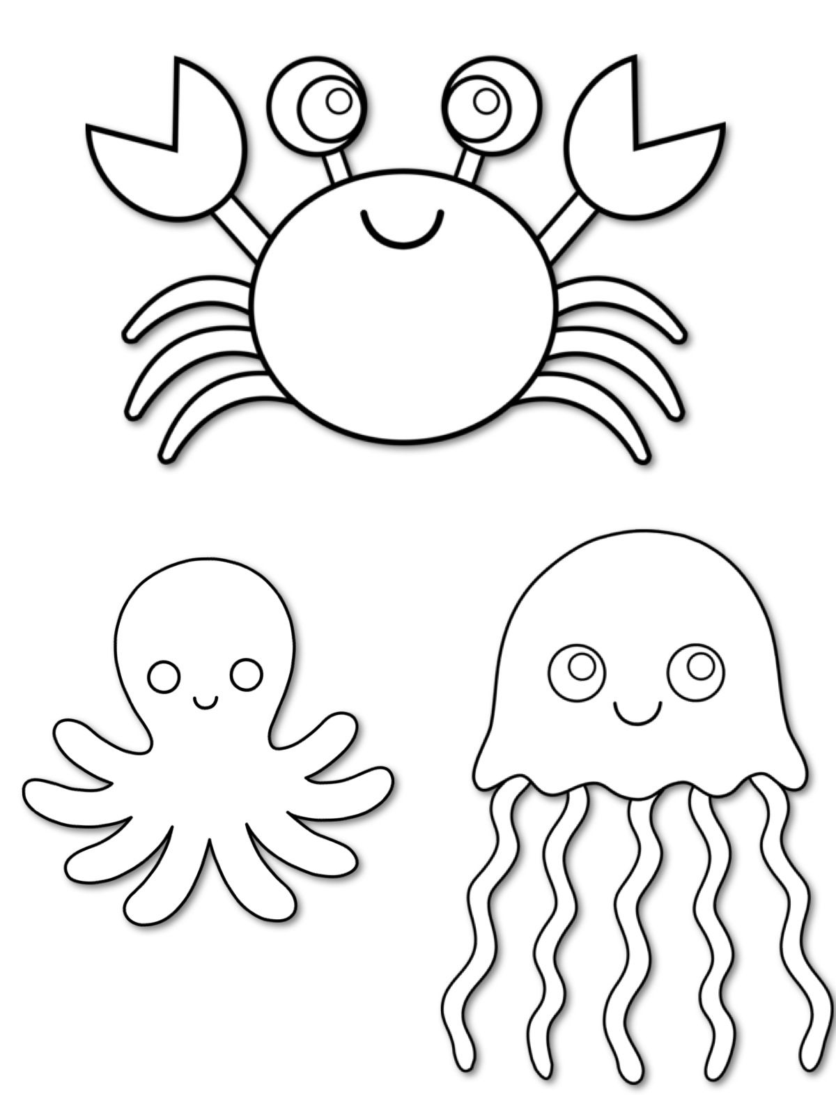 Sea creatures Coloring pages & Basic patterns/templates