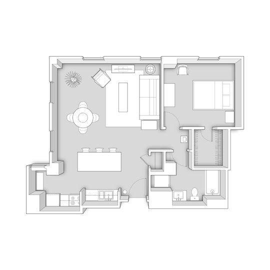 80 Modern Farmhouse Staircase Decor Ideas 64: 800 Square Feet Floor Plan (1 Bedroom, 1 Bath