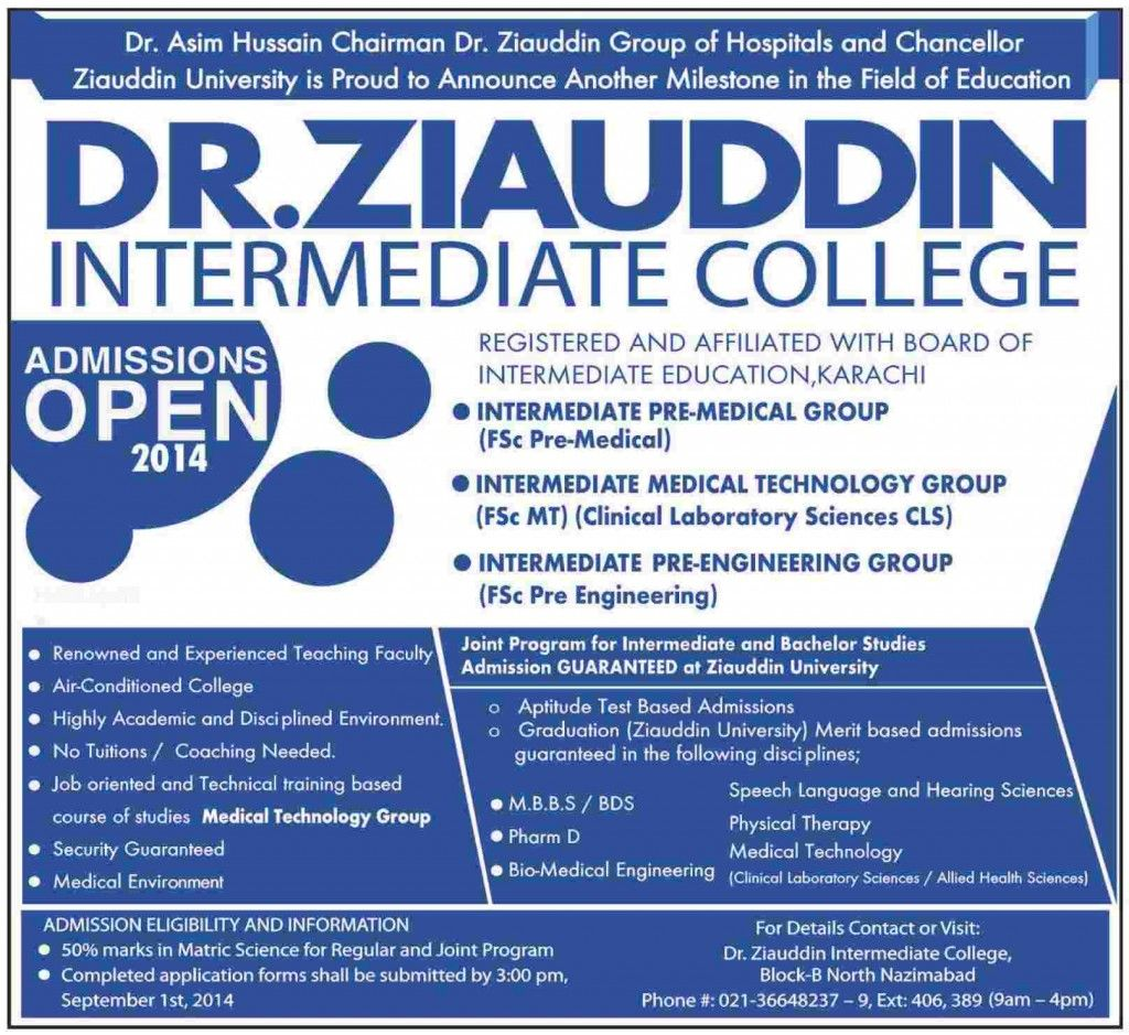 Admission In Dr Ziauddin Intermediate College Medical Technology Admissions College