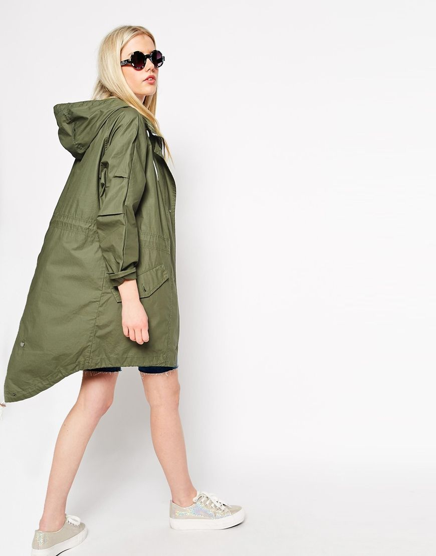 Image 3 of ASOS Rain Parka with Fishtail Hem | Parka jackets ...