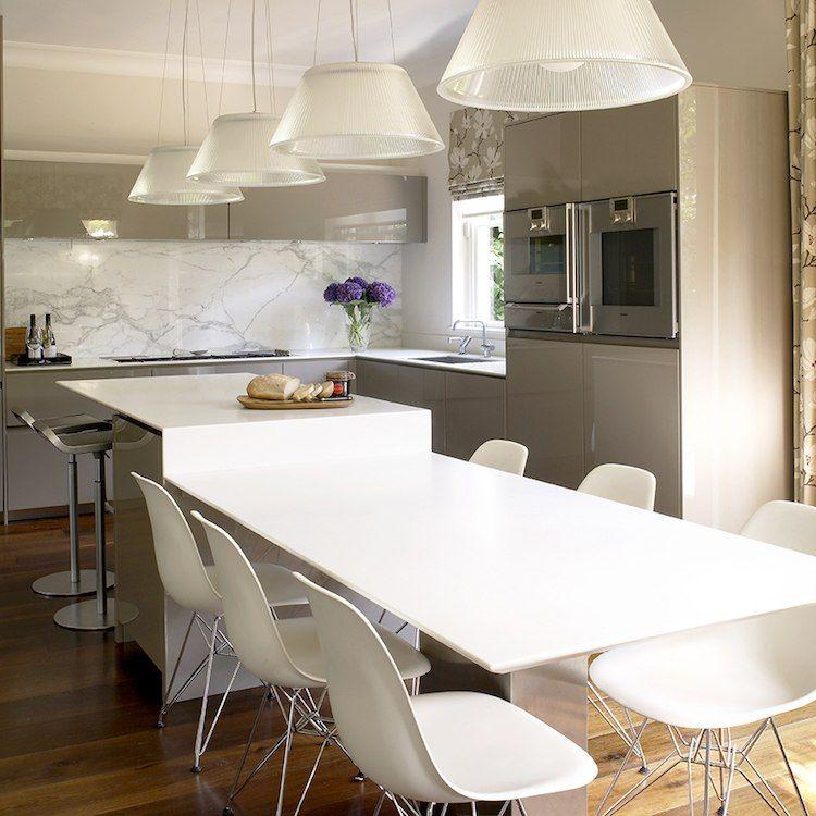 Code cuisine : îlot central table à manger 2 en 1 pour optimiser l ...