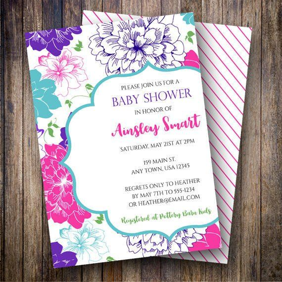 Floral Baby Shower Invitation, Floral Baby Shower Invite - printable baby shower invite