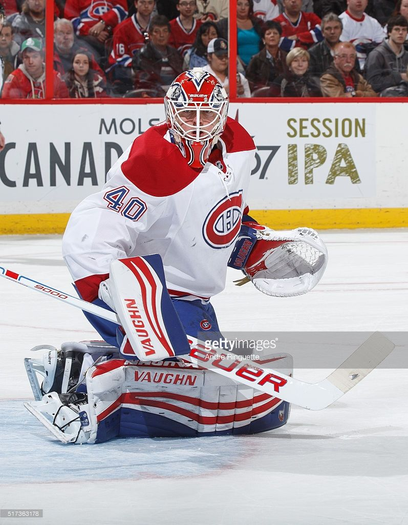 Ben Scrivens Of The Montreal Canadiens Guards His Net Against The Montreal Canadiens Canadiens Les Canadiens De Montreal