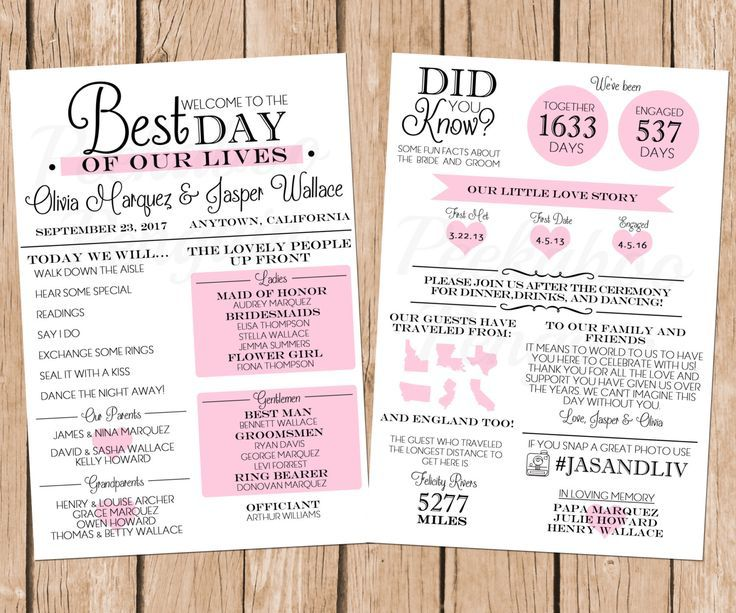Infographic Wedding Program, Fun Wedding Program, Printable - wedding program