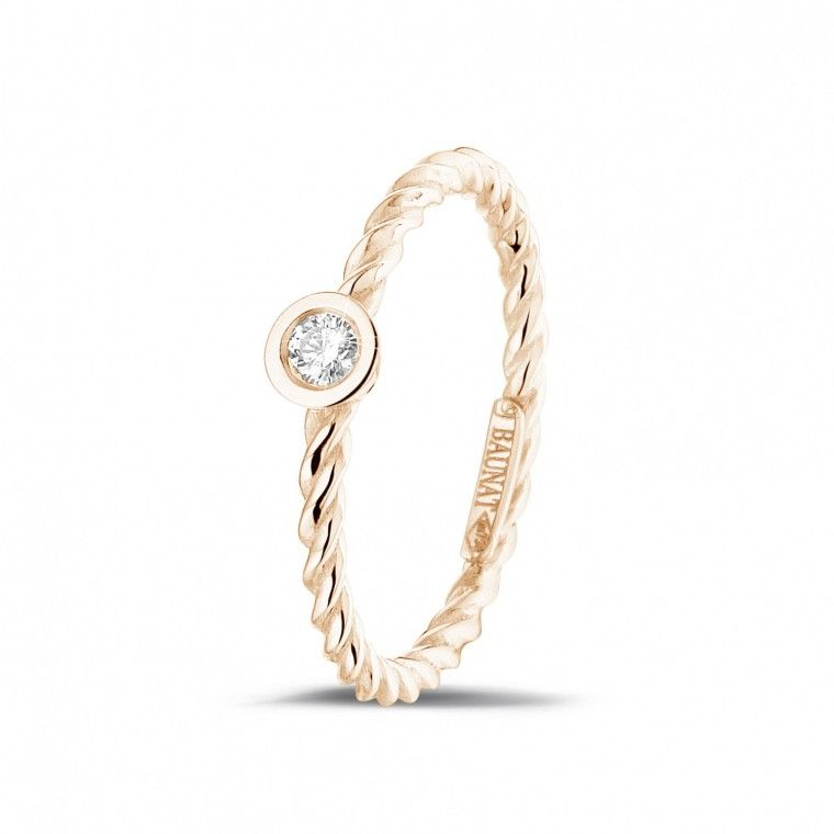 Ask your maid of honor with our elegant fine stackable rings | 0.07 carat diamond stackable twisted ring in red gold | 18K rose gold | pink gold | combination rings | Now $440 - prices adjusted daily to provide you with the best value for money, made possible by our unique online business model.