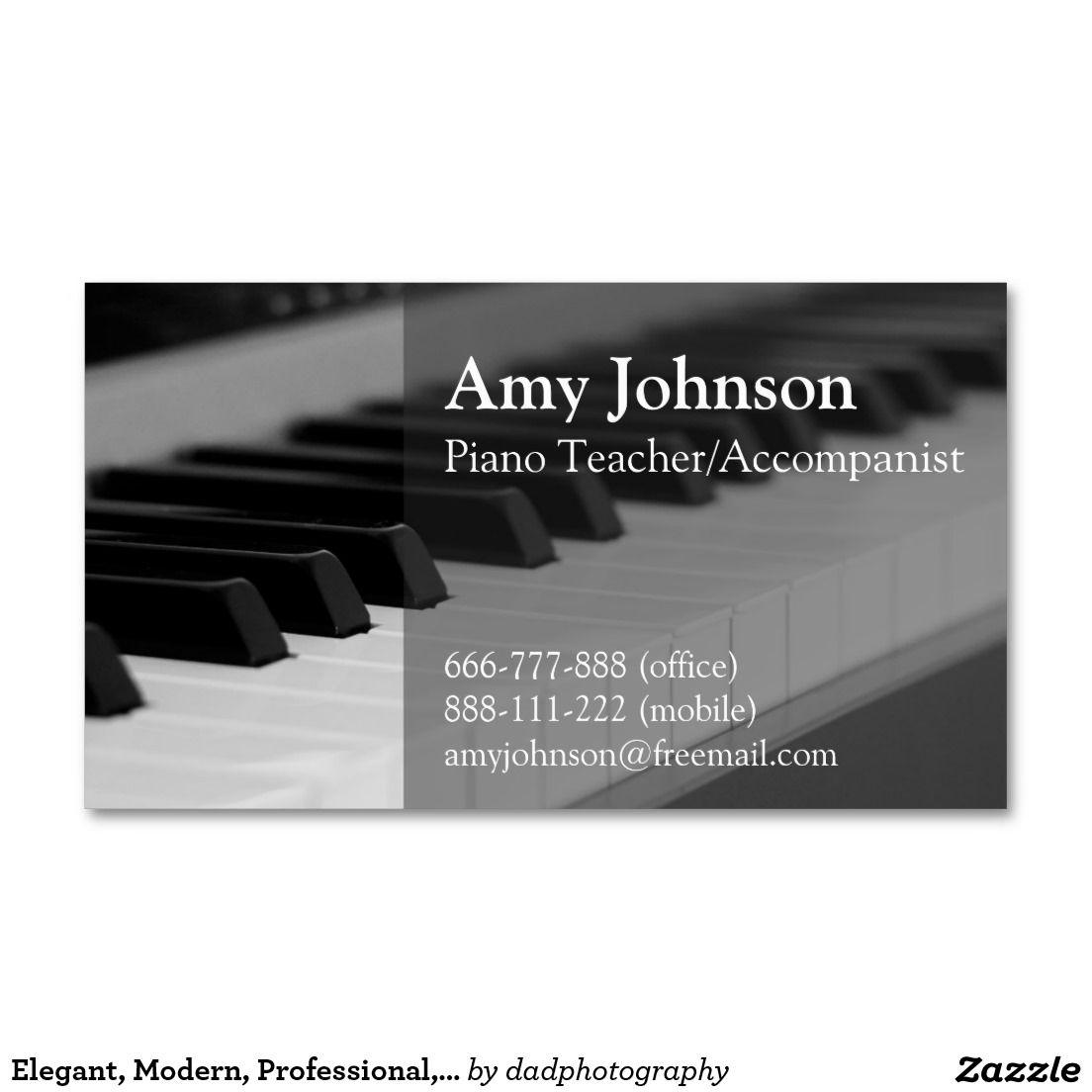 Elegant, Modern, Professional, Piano Teacher Double-Sided Standard ...