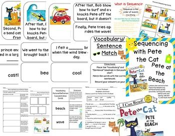pete the cat at the beach sequencing lesson with additional math activities