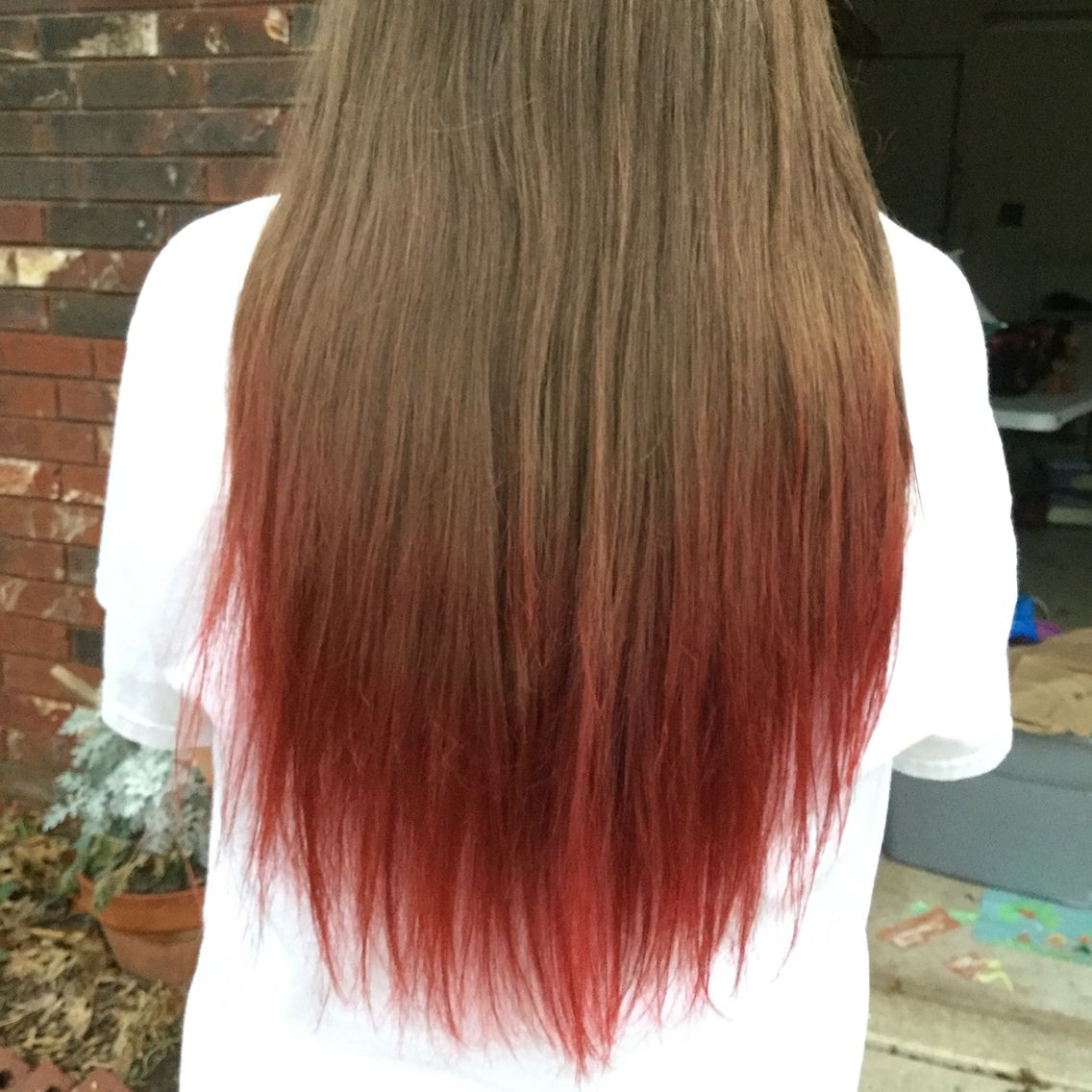 Dip Dyed With Cherry Kool Aid Boil Some Water Pour Carefully Into A Mug Or Heat Safe Cup Or Bowl Add Five Packet Red Hair Tips Dyed Blonde Hair Dipped Hair