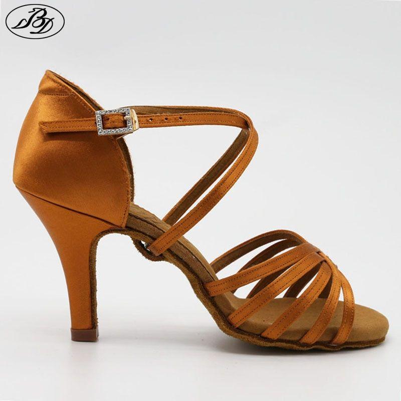 84fdf1d5d New Women Latin BD Dance Shoe 216 Satin Sandal Ladies Latin Dancing Shoes  High Heel Soft Sole Straight Heel Rhinestones Buckle