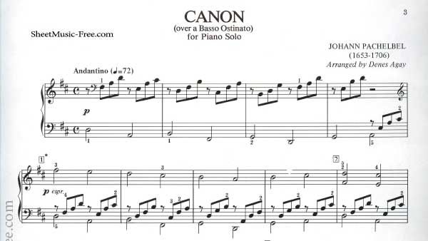 Canon Sheet Music Pachelbel With Images Piano Sheet Music Free