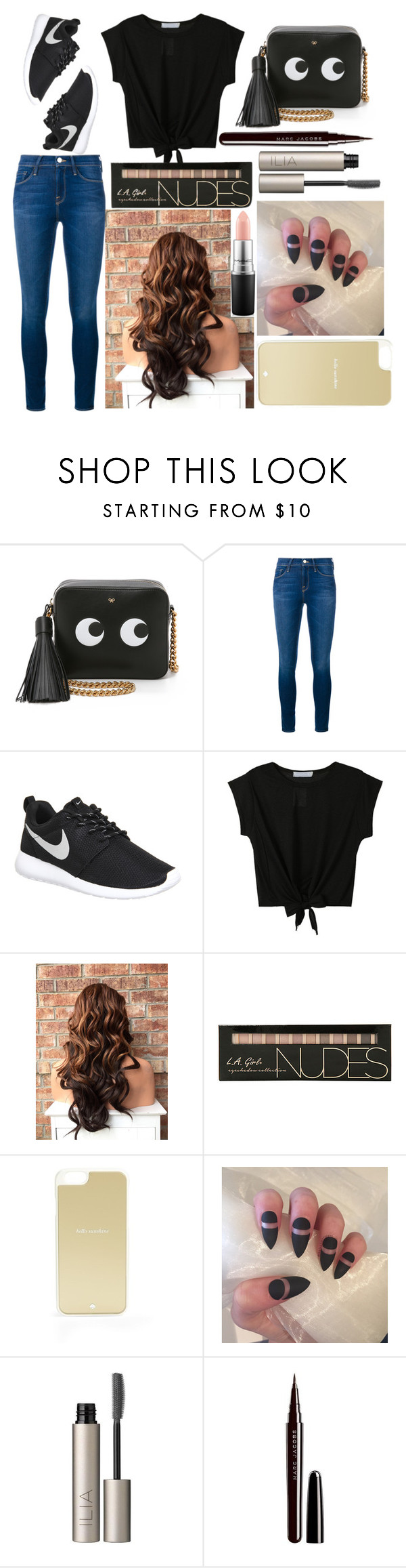 """""""Rosa: February 16, 2016"""" by disneyfreaks39 ❤ liked on Polyvore featuring Anya Hindmarch, Frame Denim, NIKE, Kate Spade, Ilia, Marc Jacobs and MAC Cosmetics"""